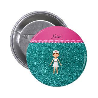 Custom name nurse pastel robin egg blue glitter button