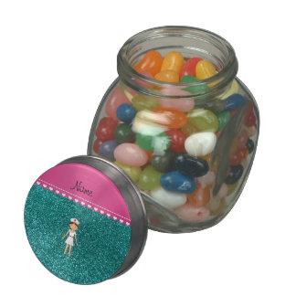 Custom name nurse pastel robin egg blue glitter glass candy jars
