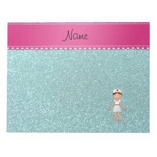 Custom name nurse pastel robin egg blue glitter scratch pads