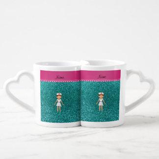 Custom name nurse pastel robin egg blue glitter couples' coffee mug set