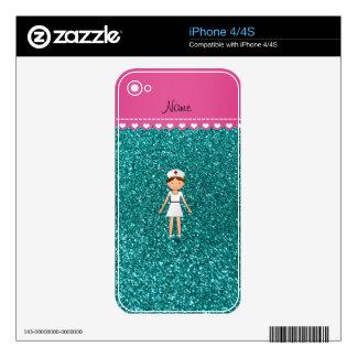 Custom name nurse pastel robin egg blue glitter skin for the iPhone 4