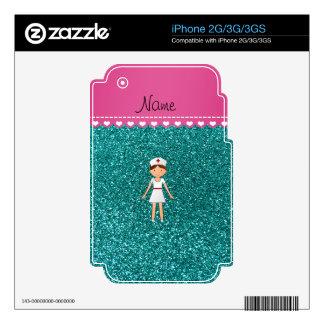 Custom name nurse pastel robin egg blue glitter iPhone 2G decals