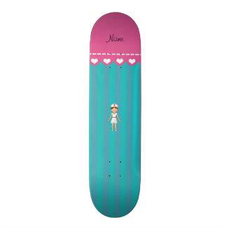 Custom name nurse turquoise stripes pink stripe custom skateboard