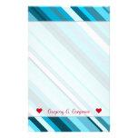 [ Thumbnail: Custom Name; Ocean-Inspired Blue/Teal/Aqua Stripes Stationery ]