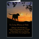 """Custom Name of Dog Sympathy Card, Loss of Dog Card<br><div class=""""desc"""">This memorial card is made to have the name changed to the dog the tribute is for.  This beautiful card and spiritual poem with the customization feature is designed to add comfort to someone that has lost their dog.</div>"""
