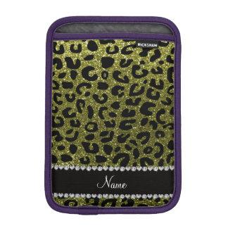 Custom name olive green glitter cheetah print iPad mini sleeve