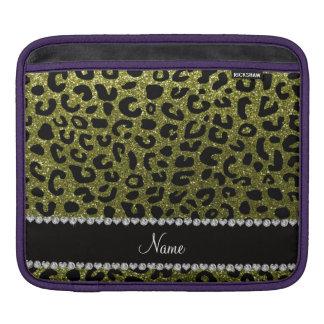 Custom name olive green glitter cheetah print iPad sleeves