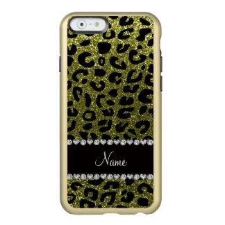 Custom name olive green glitter cheetah print incipio feather® shine iPhone 6 case