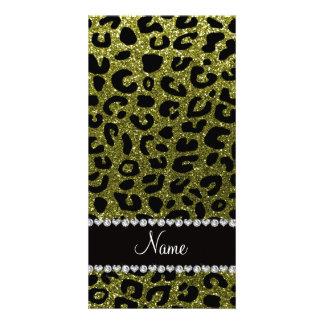 Custom name olive green glitter cheetah print photo card template