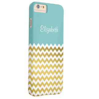 Custom Name On Aqua Sky Blue, Gold & White Chevron Barely There iPhone 6 Plus Case