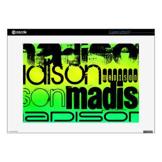"Custom Name on Neon Aqua Green and Yellow 15"" Laptop Decals"