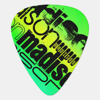 Custom Name on Neon Aqua Green and Yellow Guitar Pick
