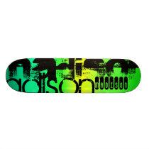 Custom Name on Neon Aqua Green and Yellow Skateboard