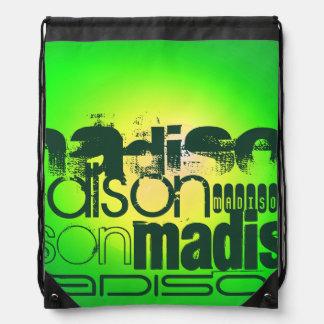 Custom Name on Neon Yellow & Green Cinch Bags