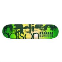 Custom Name on Neon Yellow & Green Skateboard Deck