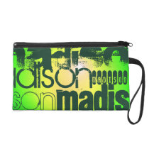 Custom Name on Neon Yellow & Green Wristlet Purse