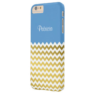 Custom Name On Regatta Blue, Gold & White Chevron Barely There iPhone 6 Plus Case