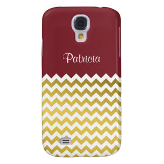 Custom Name On Ruby Red, Gold & White Chevron Galaxy S4 Cover