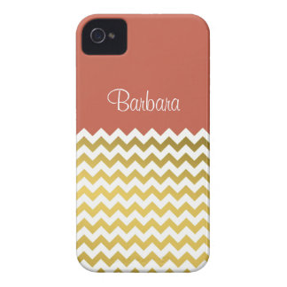 Custom Name On Rust Red, Gold & White Chevron Case-Mate iPhone 4 Cases