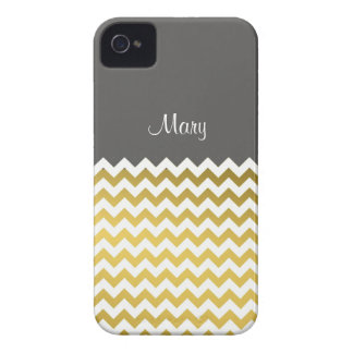 Custom Name On Turbulence Gray, Gold White Chevron iPhone 4 Cover