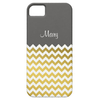 Custom Name On Turbulence Gray, Gold White Chevron iPhone SE/5/5s Case