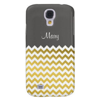 Custom Name On Turbulence Gray, Gold White Chevron Samsung Galaxy S4 Cover