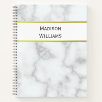 Custom Name on White Marble Look Notebook