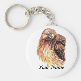Custom Name or Business Red Tailed Hawk, Bird Keychain