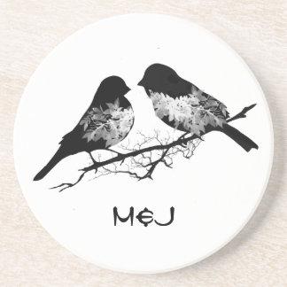 Custom Name or Monogram Love Birds Coaster