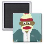Custom Name or Monogram Sock Monkey Boy 2 Inch Square Magnet