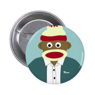 Custom Name or Monogram Sock Monkey Boy Pinback Button