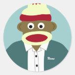 Custom Name or Monogram Sock Monkey Boy Stickers