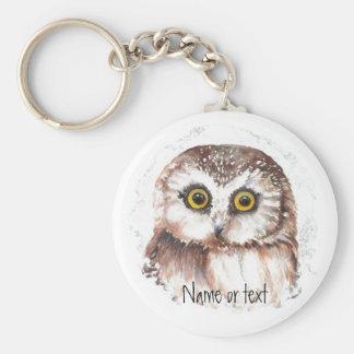 Custom Name or text, Cute Little Owl,Bird Keychain