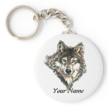 Custom Name or Text Wolf Logo watercolor Animal Keychain