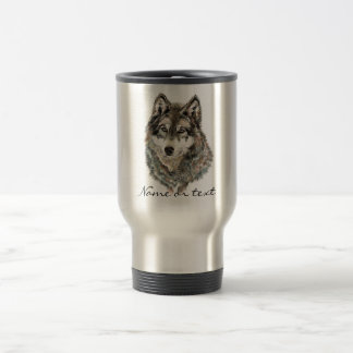 Custom Name or Text Wolf watercolor Animal 15 Oz Stainless Steel Travel Mug
