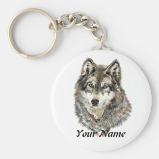 Custom Name or Text Wolf watercolor Animal Basic Round Button Keychain