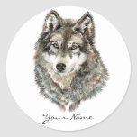 Custom Name or Text Wolf watercolor Animal Classic Round Sticker