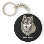 Custom Name or Text Wolf watercolor Animal Keychain