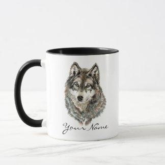 Custom Name or Text Wolf watercolor Animal Mug