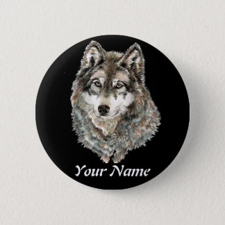 Custom Name or Text Wolf watercolor Animal Pinback Button