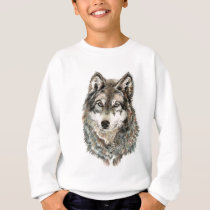 Custom Name or Text Wolf watercolor Animal Sweatshirt