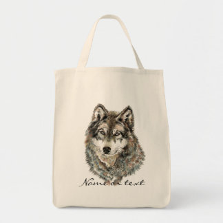 Custom Name or Text Wolf watercolor Animal Tote Bag