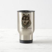 Custom Name or Text Wolf watercolor Animal Travel Mug