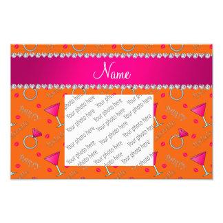 Custom name orange bachelorette cocktails rings photo print