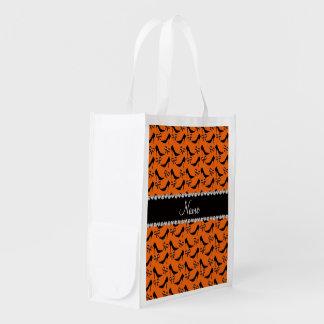 Custom name orange black high heels bow diamond reusable grocery bag
