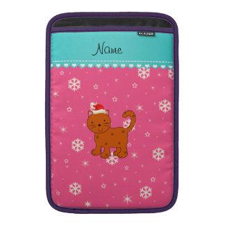 Custom name orange cat pink snowflakes stars MacBook sleeves