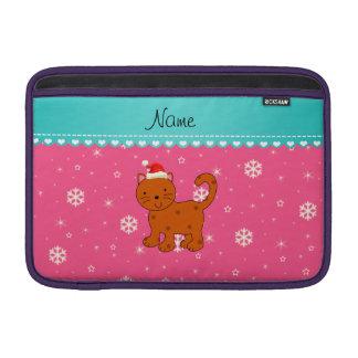 Custom name orange cat pink snowflakes stars sleeves for MacBook air