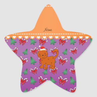 Custom name orange cat purple candy canes bows star sticker