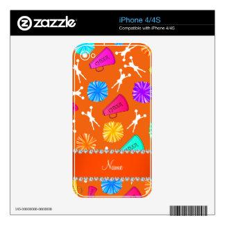 Custom name orange cheerleading pompoms iPhone 4 decal