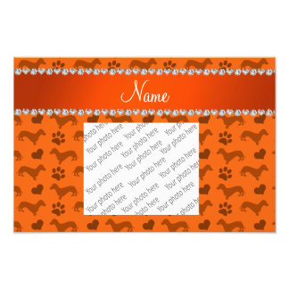 Custom name orange dachshunds hearts paws photographic print